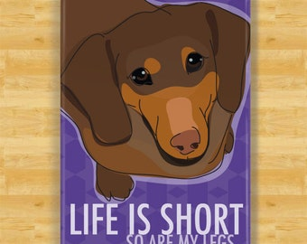 Dachshund Magnet - Life is Short So Are My Legs - Chocolate Dachshund Gifts Fridge Refrigerator Dog Magnets
