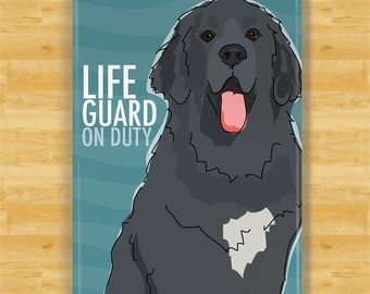 Black Newfoundland Newfie Gifts Funny Dogs Refrigerator Magnets with Cute Sayings - Lifeguard on Duty
