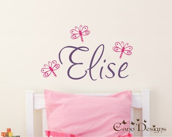 Personalized Name With Dragonflies, Custom Vinyl wall decals stickers, nursery, kids & teens room, removable decals stickers