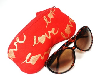 Eyeglass Case, Sun Glass Case, Eyeglass Holder, Eyeglass Cozy in Red Gold Love
