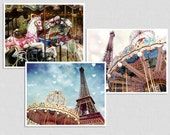 Clearance: Set of 3 5x7'' Fine Art Photographs, Nursery Print Decor, Carousel Photo, Paris Photos, Vintage inspire, Romantic photo, gift