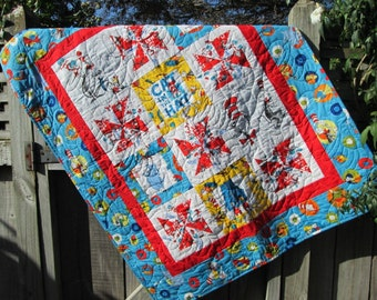 Dr Seuss Baby Quilt, The Cat in the Hat Baby Bedding, Gender Neutral Nursery, Suess Toddler Bedding