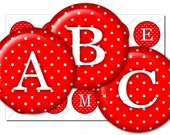 Red White Polka Dots Alphabet - 4 X 6 Digital Collage Sheet - 1 inch Bottle Cap Images - Instant Download