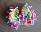 CHEVRON bright rainbow bow