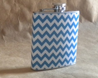 Chevron Print of Sky Blue and White Gift Flask 6 ounces KR2D 6433