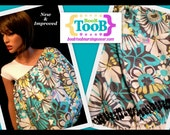 NEW and IMPROVED: Grey, Turquoise, and soft Lime Flower BooB TooB Nursing Cover with POCKET