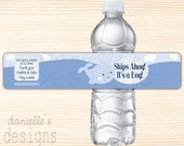 Ships Ahoy It's a Boy - Baby Blue Whale Personalized Baby Shower Waterproof Water Bottle Labels  - 35 Labels