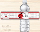 Personalized Birthday Water Bottle Labels with Lady Bug & Polka Dot Theme - 14 labels