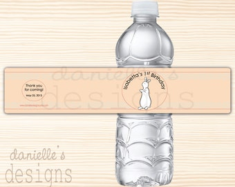 Pat the Bunny Inspired Personalized Birthday Waterproof Water Bottle Labels - 35 Labels