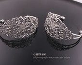 10pcs-35mmX66mmSilver Filigree Bracelet Setting,adjustable Blank Lead & Nickel Free(E308S)