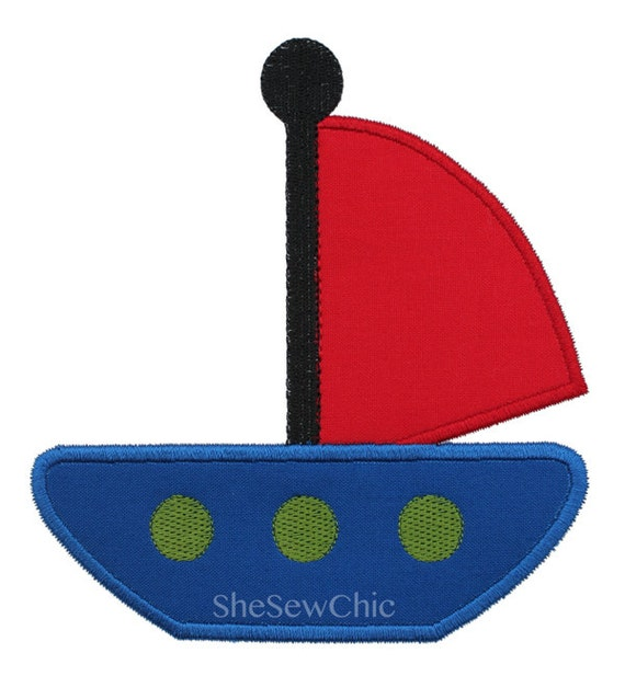 Sailboat Applique Machine Embroidery Design (Sailboat2 015)