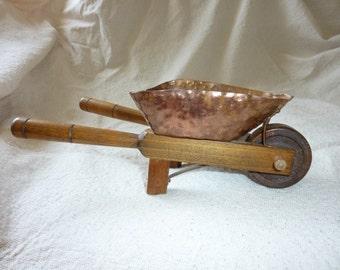 Vintage hammered Copper Wheel Barrow miniature Antique Toy wheelbarrow mini