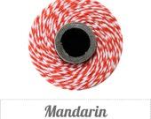 Mandarin - Orange and  White Baker's Twine by The Twinery - 240 yard spool