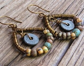 Vintage Ceramic Earrings with Rustic Picasso Glass