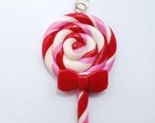 Swirl Lollipop Charm, polymer clay charm, red, pink, white, handmade READY TO SHIP!!