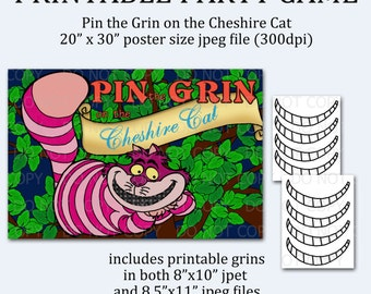 """Printable DIY Pin the Grin on the Cheshire Cat Game Poster 20"""" x 30"""""""