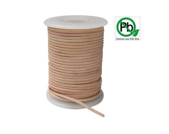 Round Leather Cord Natural 1mm 5meters
