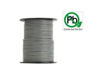 Round Leather Cord Grey  1mm 10meters
