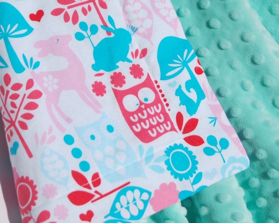 Pink, Red & Aqua Minky Baby Blanket - Michael Miller Forest Life in Aqua with Minky Dot for your Baby Girl