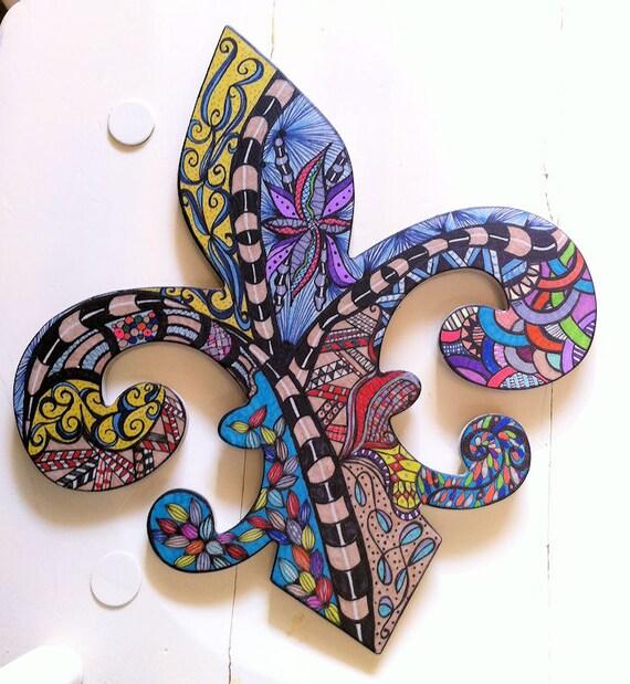 Fleur de lis wall art bright vibrant colors by for Bright vibrant colors
