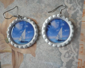 White sailboat on a Blue Ocean Earrings