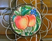 Vintage Majolica Trivet Apples Grapes Leaves Collapsable Wire Frame