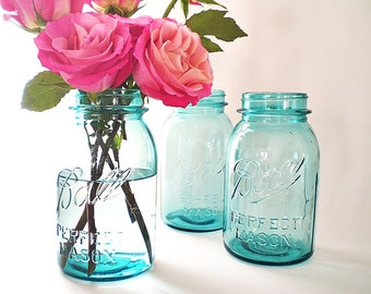 Blue Mason Jars Authentic Vintage Blue Ball Jar Collection Shabby Cottage Chic Wedding Jar Vases Turquoise Blue Rustic Outdoor Wedding Decor
