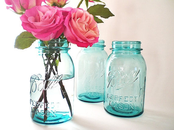 blue mason jars antique ball jar collection by vintagebiffann. Black Bedroom Furniture Sets. Home Design Ideas