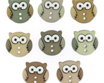 Owl Buttons 8pc