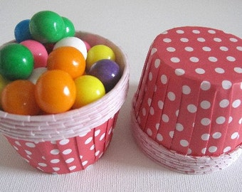 25 Red w/ White Polka Dot Paper Candy Nut Cups / Cupcake Baking Cups / Ice Cream Cups