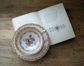 Antique Teacup and Saucer, Peach and Gold - LittleKittenVintage
