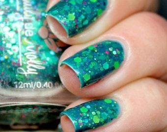 """Nail polish - """"Monet's Garden""""  green, lime, neon glitter in a green base"""