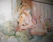 Vintage Adult Nude Lady Water Color Painting SIGNED FRAMED MATTED