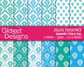 INSTANT DOWNLOAD Digital Paper Pack: Damasks - Cyan and Teal blue turquoise - gidgetdesigns