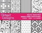 Black and White Digital Paper Pack Damask Printable Black Scrapbook Paper Background Patterns