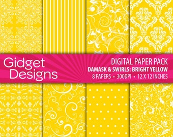 Yellow Summer Digital Paper Pack Damasks Instant Download Printable Summer Party BBQ Cook Out