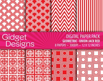 Red Digital Paper Pack Red Geometric Red Patterns Scrapbook Paper Chevron Stripe Instant Download Printable