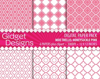 Pink Digital Paper Pack Quatrefoil Clipart Instant Download Commercial Use Baby Girl Announcement Bridal Shower Invitation