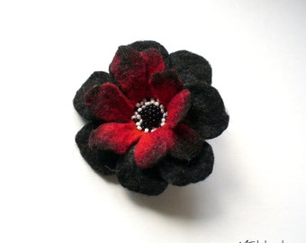 RED-Black-White FLOWER felt  brooch - Ready to Ship Now - Gift under 50 USD