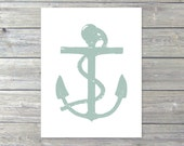 Anchor - Wall Art Print - Nautical - Home Decor - Pastel Seafoam Sage Green - Rustic