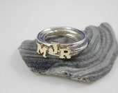 9K Solid Gold Initial on Silver Rings TRIO - ElenadE