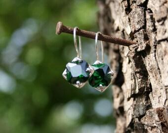 Silver Earrings,Green CZ  Earrings, Handmade Earrings, Silver Earrings, Green Stone Earring,