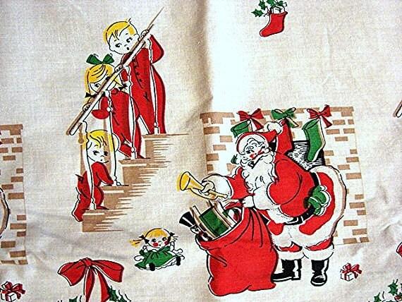 1950s Christmas Fabric Novelty Santa Claus and Children Skirt Apron Fabric Pillowcase 35 x 37