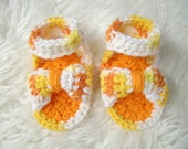 Crochet Baby Sandals 0-3 months Orange and Yellow