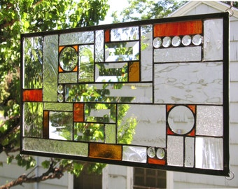 """Geometric 2 beveled Circles Red, Clear and Amber --10.5"""" x 18.5""""--Stained Glass Window Panel --"""