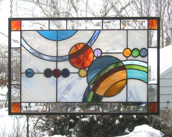 "Galaxy  1-- 21.5"" x  13.5""-- Stained Glass Window Panel"