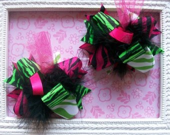 Funky Neon Zebra---Hair Bows Set of 2---Mini Funky Fun Over the Top Bows--Lime and Hot Pink Zebra Print