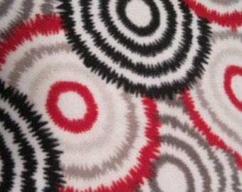 Circles in Red, Gray and Black with Red Blanket
