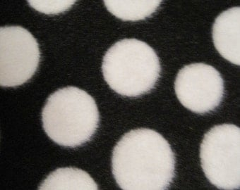 Dots on Black with White Fleece Throw Cover - Ready to Ship Now