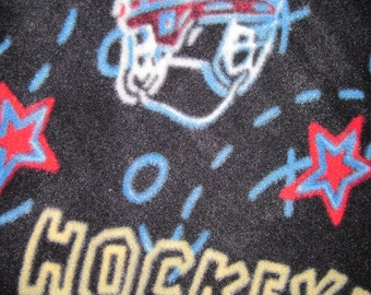 Hockey Players, Sticks, and Pucks on Black with Red Double Layer Throw